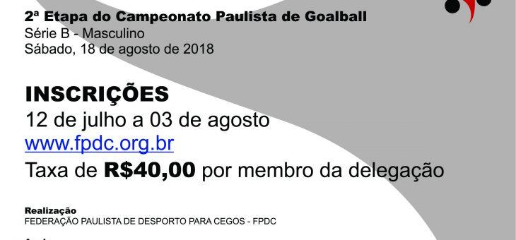 CONVITE OFICIAL: 2ª Etapa do Campeonato Paulista de Goaball (Série B – Masculino)